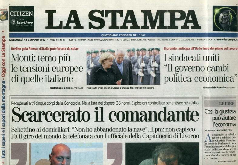 LA STAMPA, mercoledì 18 gennaio 2012_Copertina